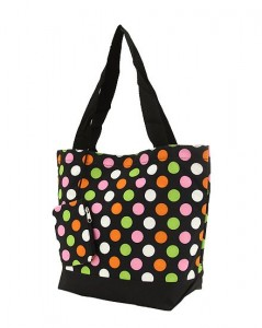 Monogrammed Polka Dot Tote Insulated lining